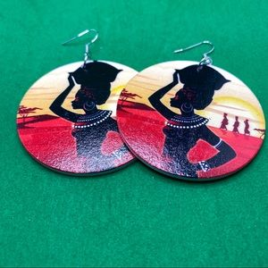 Handcrafted African ethnic dangling earrings
